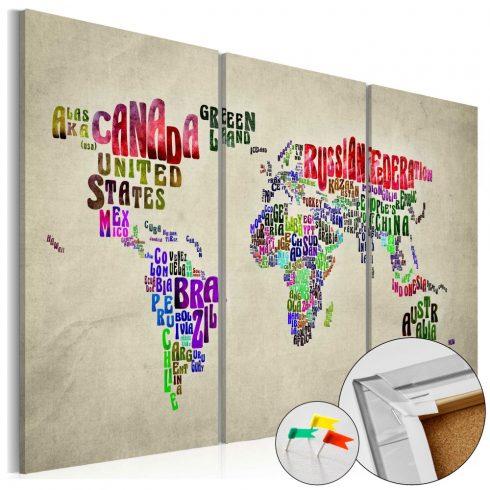 Világtérkép parafán - Colorful Countries [Cork Map]