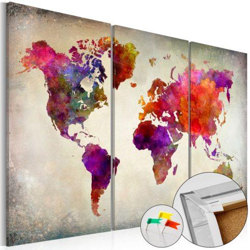 Világtérkép parafán - Mosaic of Colours [Cork Map]
