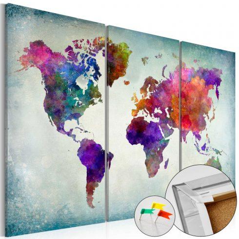 Világtérkép parafán - World in Colors [Cork Map]