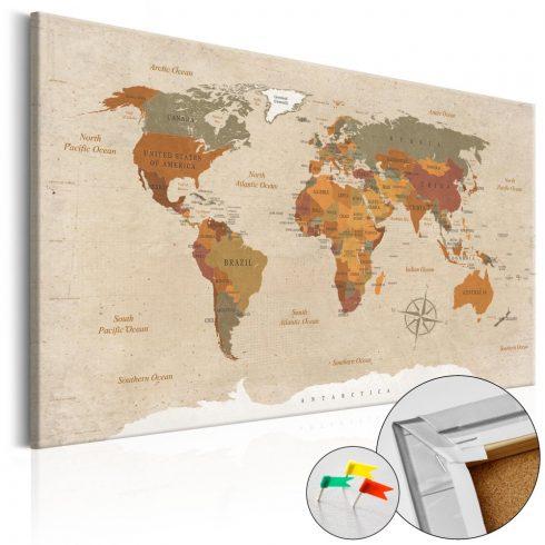 Világtérkép parafán - Beige Chic [Cork Map]