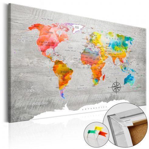 Világtérkép parafán - Multicolored Travels [Cork Map]