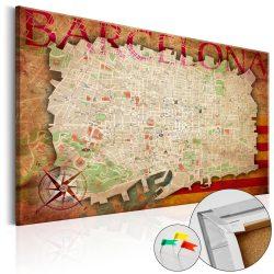 Kép parafán - Map of Barcelona [Cork Map]
