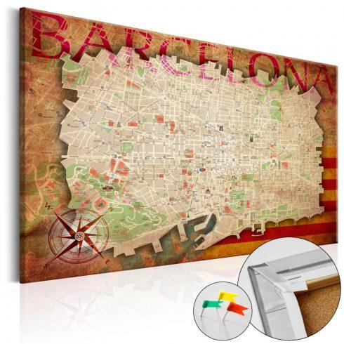 Világtérkép parafán - Map of Barcelona [Cork Map]
