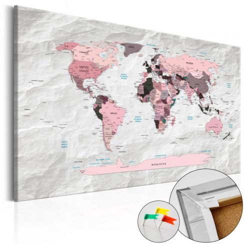 Világtérkép parafán - Pink Continents [Cork Map]
