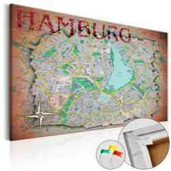 Kép parafán - Hamburg [Cork Map]