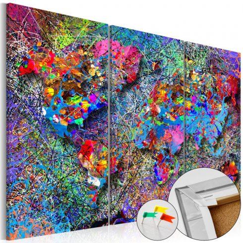 Világtérkép parafán - Colourful Whirl [Cork Map]