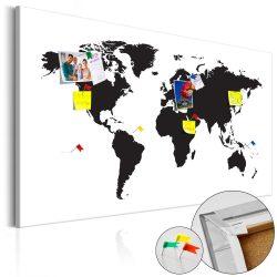 Kép parafán - World Map: Black & White Elegance [Cork Map]