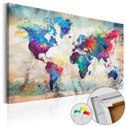 Kép parafán - World Map: Colourful Madness [Cork Map]