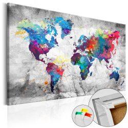 Kép parafán - World Map: Grey Style [Cork Map]