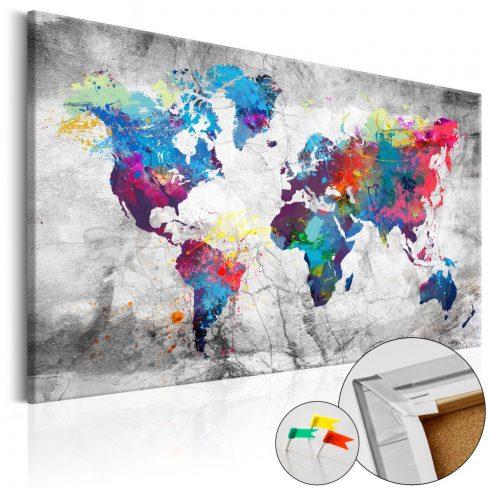 Világtérkép parafán - World Map: Grey Style [Cork Map]
