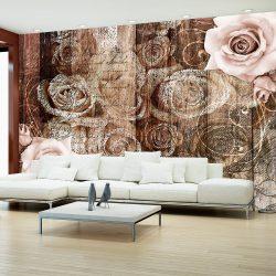 Fotótapéta  -  Old Wood & Roses - ajandekpont.hu