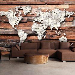 Fotótapéta - Map On Wood  7 féle méretben