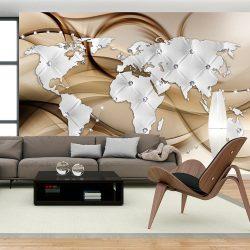 Fotótapéta - World Map - White & Diamonds  7 féle méretben