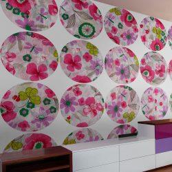 Fotótapéta - Pink meadow - circle  50 x1000 cm