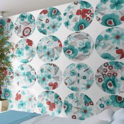 Fotótapéta - Turquoise meadow - circle  50 x1000 cm