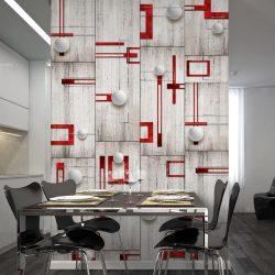 Fotótapéta - Concrete, red frames and white knobs  50 x1000 cm