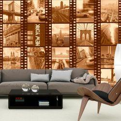 Fotótapéta - New York - Collage (sepia)  50 x1000 cm
